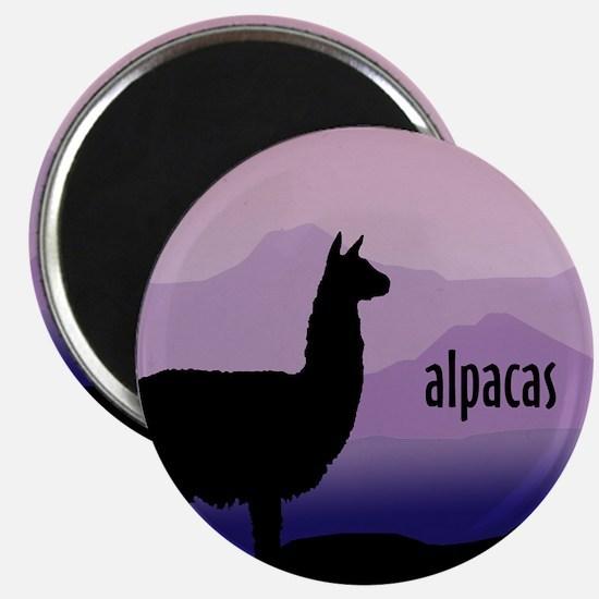 alpaca purple mountains Magnet