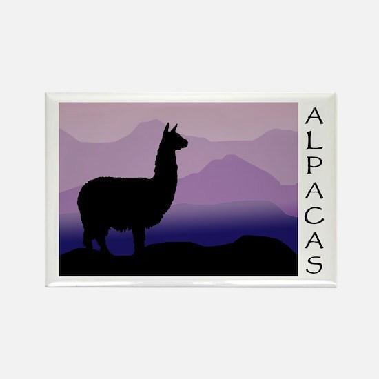 alpaca purple mountains Rectangle Magnet