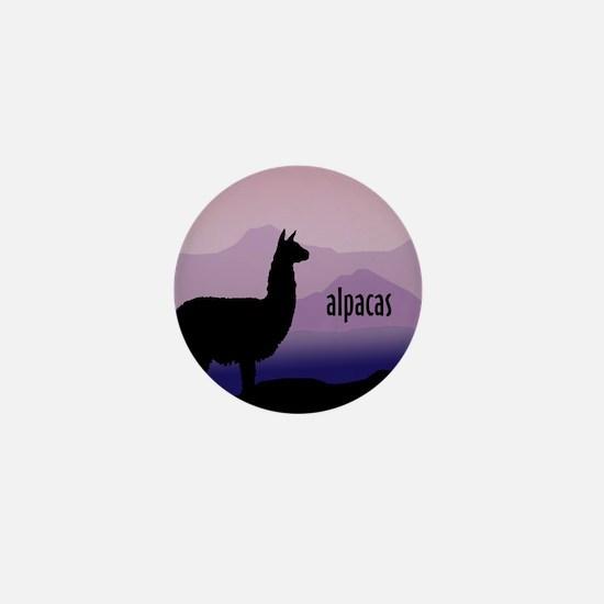alpaca purple mountains Mini Button