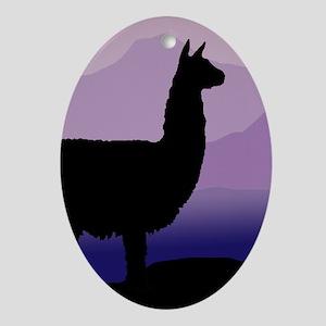alpaca purple mountains Oval Ornament