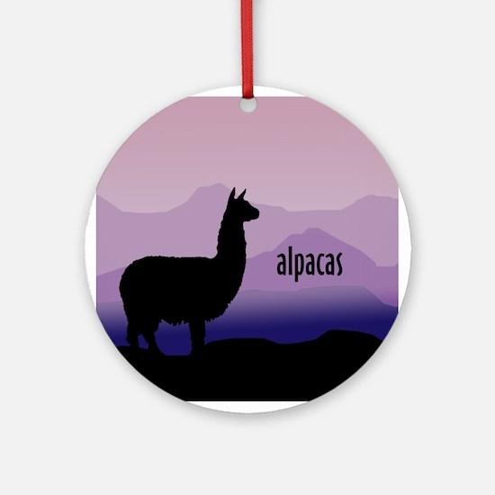 alpaca purple mountains Ornament (Round)