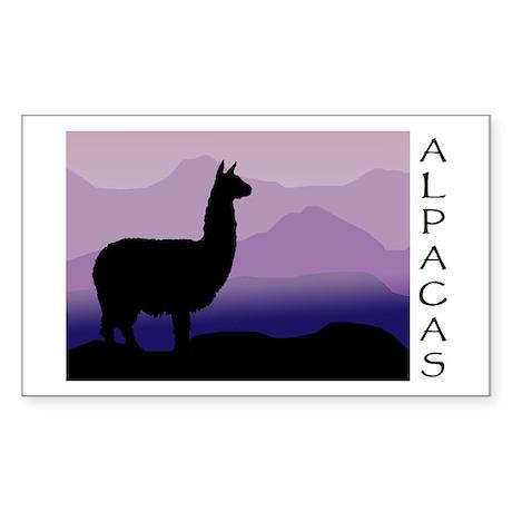 alpaca purple mountains Rectangle Sticker