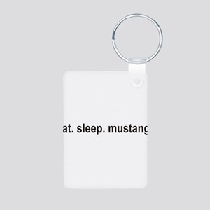 eat sleep mustang copy Aluminum Photo Keychain