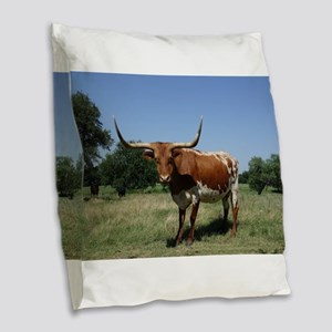 Longhorn cow Burlap Throw Pillow