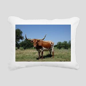 Longhorn cow Rectangular Canvas Pillow