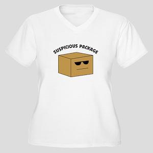 Suspicous Package Women's Plus Size V-Neck T-Shirt