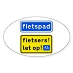 fietspadFietsers Sticker (Oval 10 pk)
