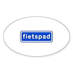 fietspad Sticker (Oval)