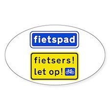 fietspadFietsers Sticker (Oval)