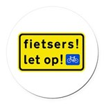 fietsers Round Car Magnet