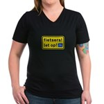 fietsers Women's V-Neck Dark T-Shirt