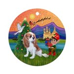 XmasFantasy-Cavalier Pup (blen) Ornament (Round)