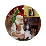Santa & his Two Cavaliers Ornament (Round)