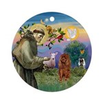 St Francis - Ruby Cavalier Ornament (Round)