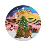 Xmusic2 - Two brown Dachshunds Ornament (Round)