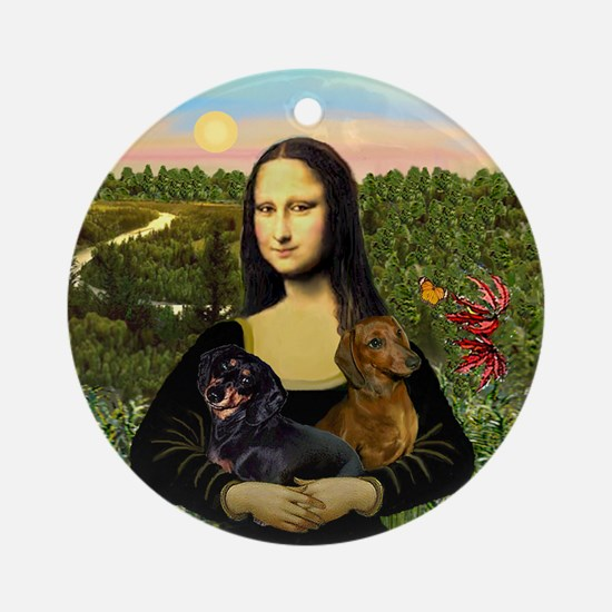 Mona Lisa's two Dachshunds Ornament (Round)