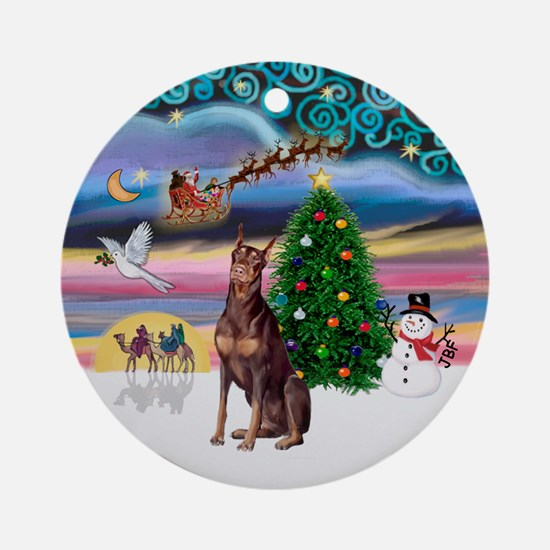 XmasMagic-Red Doberman Ornament (Round)