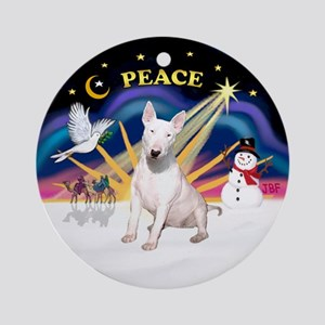 Xmas Sunrise - Bull Terrier Ornament (Round)