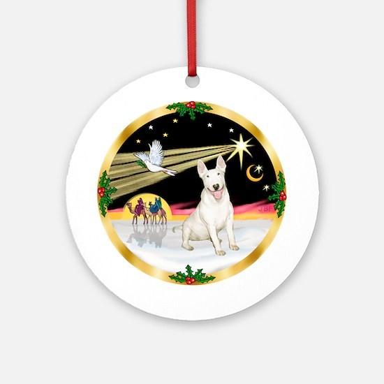 Xmas Dove & Bull Terrier (#4) Ornament (Round)