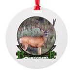 bow hunter, trophy buck. Round Ornament