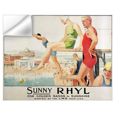Poster advertising Sunny Rhyl (colour litho) Wall Decal
