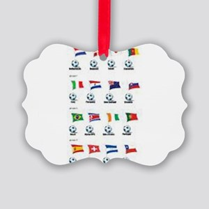 Soccer Balls And Flags Picture Ornament