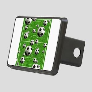 Soccer-Balls-Over-A-Field Rectangular Hitch Cover