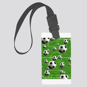 Soccer-Balls-Over-A-Field Large Luggage Tag
