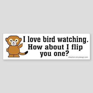 Happy Monkey - Bird Flipping Bumper Sticker