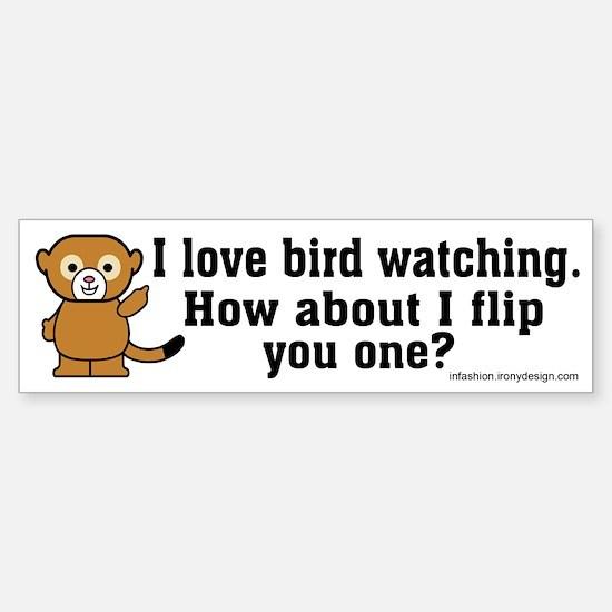 Happy Monkey - Bird Flipping Bumper Bumper Bumper Sticker