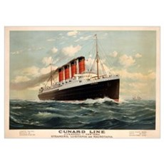 Advertisement for the Cunard Line, c.1908 (colour  Poster