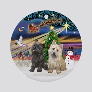XmasMagic-Two Cairn Terriers Ornament (Round)