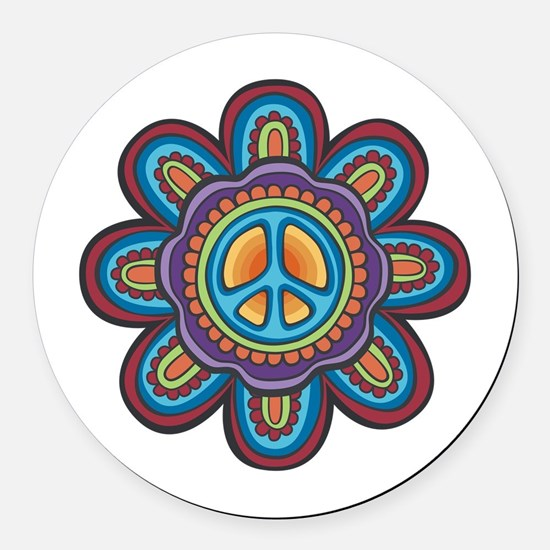 Hippie Peace Flower Round Car Magnet