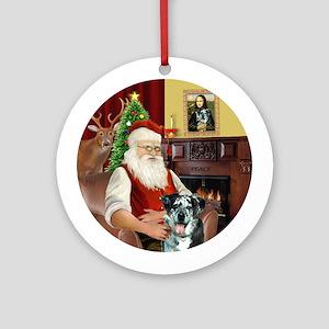 Santa & his Catahoula Leopard Dog Ornament (Ro