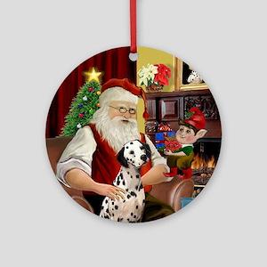 Santa's Dalmatian Ornament (Round)