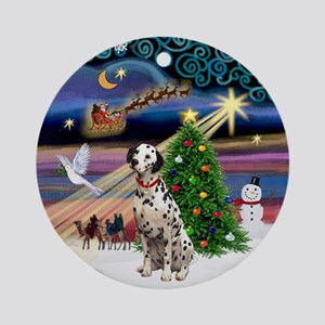 XmasMusic-Dalmatian Ornament (Round)