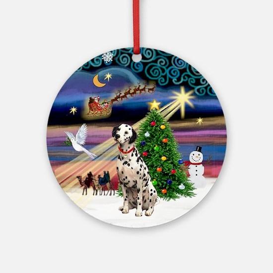 XmasMusic-Dalmatian Ornament (Round)