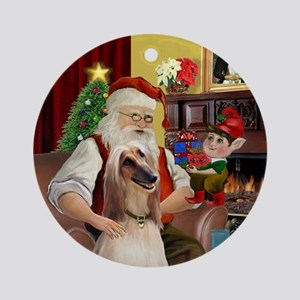 Santa and his Afghan Ornament (Round)