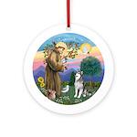 St Francis-Alaskan Malamute Ornament (Round)