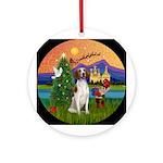 XmasFantasy-Amer Foxhound Ornament (Round)