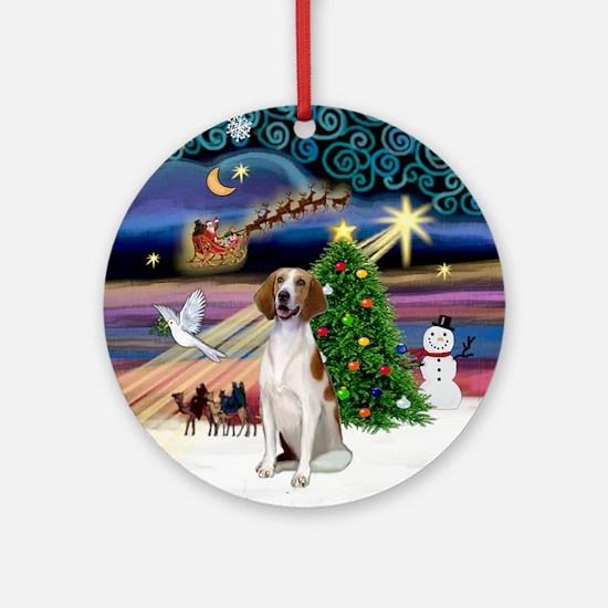 XmasMagic-Amer Foxhound Ornament (Round)