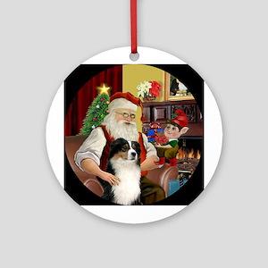 Santa's Tri Australian Shep Ornament (Round)