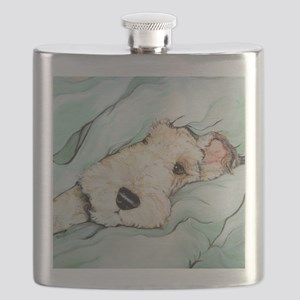 Napping Wire Fox Terrier Flask