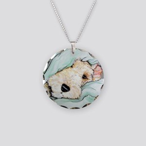 Napping Wire Fox Terrier Necklace Circle Charm