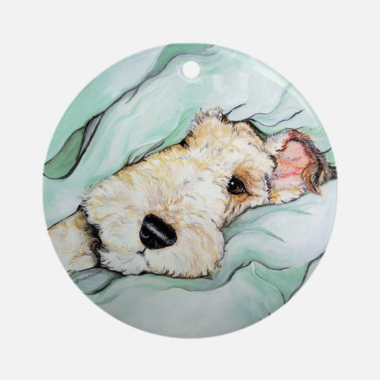 Napping Wire Fox Terrier Ornament (Round)
