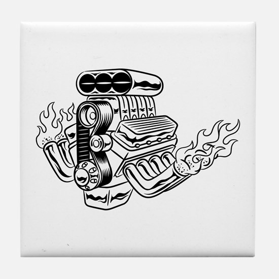 Hot Rod Engine Tile Coaster