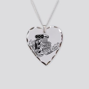 Hot Rod Engine Necklace Heart Charm