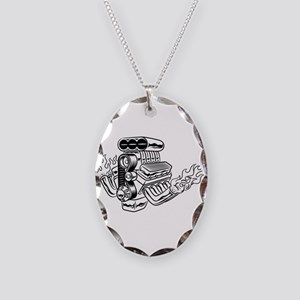 Hot Rod Engine Necklace Oval Charm