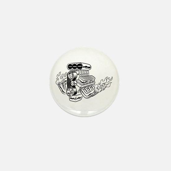 Hot Rod Engine Mini Button