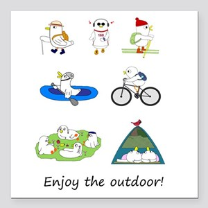 "Enjoy the Outdoor Square Car Magnet 3"" x 3"""